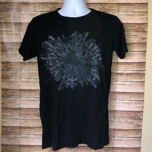 Rock & Republic Black Graphic T-Shirt Sz S
